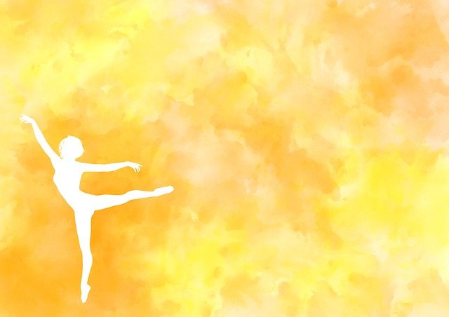 Balett táncos sárga háttérrel