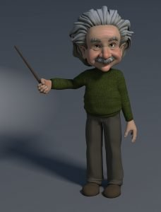 professor, 3d figure, pointing at